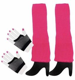 80s Costume Accessories Women's Hot Pink Leg Warmers and Bla