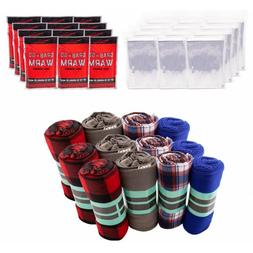 Care Package Supplies - Case of 12 Blankets, 12 Hand Warmers