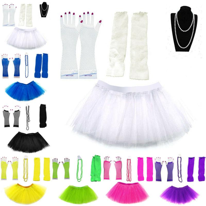 NEON FANCY DRESS TUTU SET NECKLACE WARMERS FISHNET GLOVES COSTUME