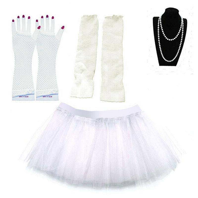 NEON TUTU NECKLACE LEG WARMERS BEADS GLOVES COSTUME