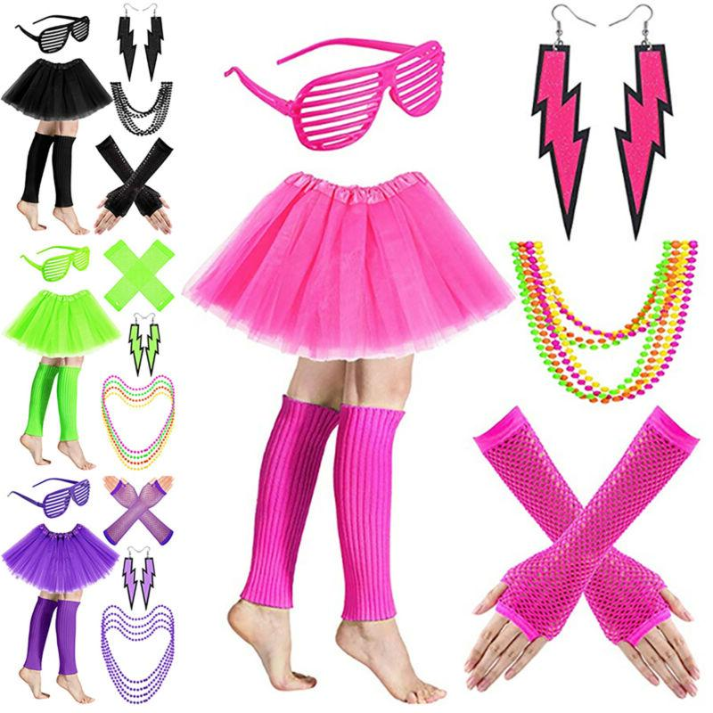 NEON TUTU SET WARMERS BEADS COSTUME
