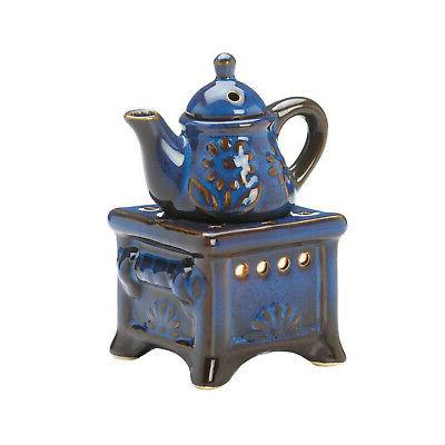 OIL BURNER: Blue Glazed Country Kitchen Teapot Kettle On Sto