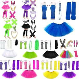 neon 80s fancy dress tutu set necklace