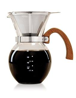 HIC Pour-Over Coffee Maker Borosilicate Glass with Bamboo Ha