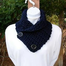 Solid Dark Navy Blue NECK WARMER SCARF with Buttons, Crochet