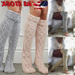 US Women Crochet Knitted stocking Leg Warmers Boot Cover Lac