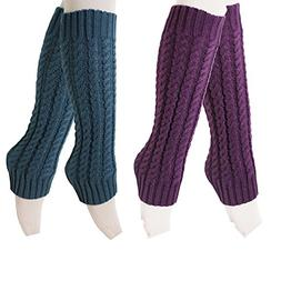 2 Pairs Womens Winter Warm Cable Knit Leg Warmers Knitted Cr