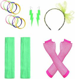 Justincostume WomenS 80S Outfit Accessories Neon Earrings Le
